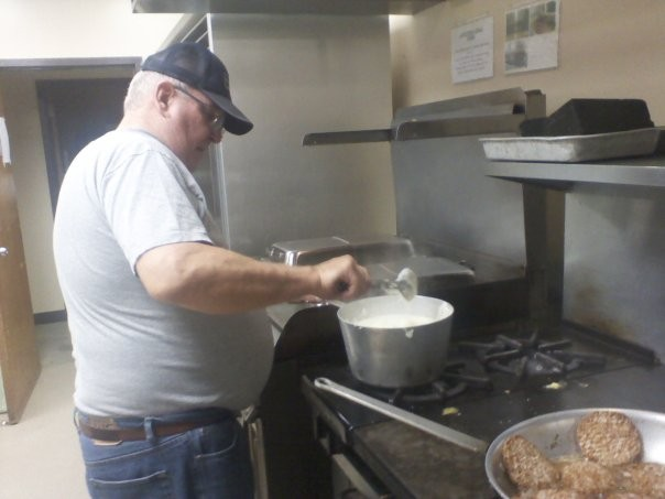 My dad (1940-2012) preparing breakfast for guests at the local homeless shelter