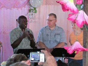 (l-r) Pastor Lex (interpreter), Drex and Jo Stuart