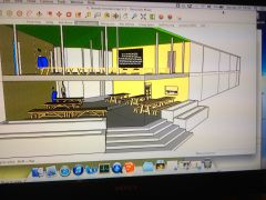 """Final design for Ikondo. """"Grandpa Rockwell's Kitchen"""" will be situated on the first floor in the center of the building, just to the right of the breezeway and tables"""