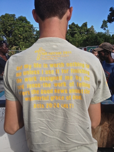 "Hands & Feet Project co-director Andrew Sutton's shirt: ""However, I consider my life worth nothing to me; my only aim is to finish the race and complete the task the Lord Jesus has given me—the task of testifying to the good news of God's grace."" -Acts 20:24"