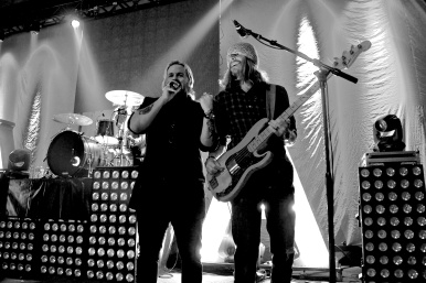 Kevin Max on stage with Will McGinniss, Jared Byers, and Dwayne Larring as Audio Adrenaline, October 2013, Shallotte, NC. photo by Mark Rockwell